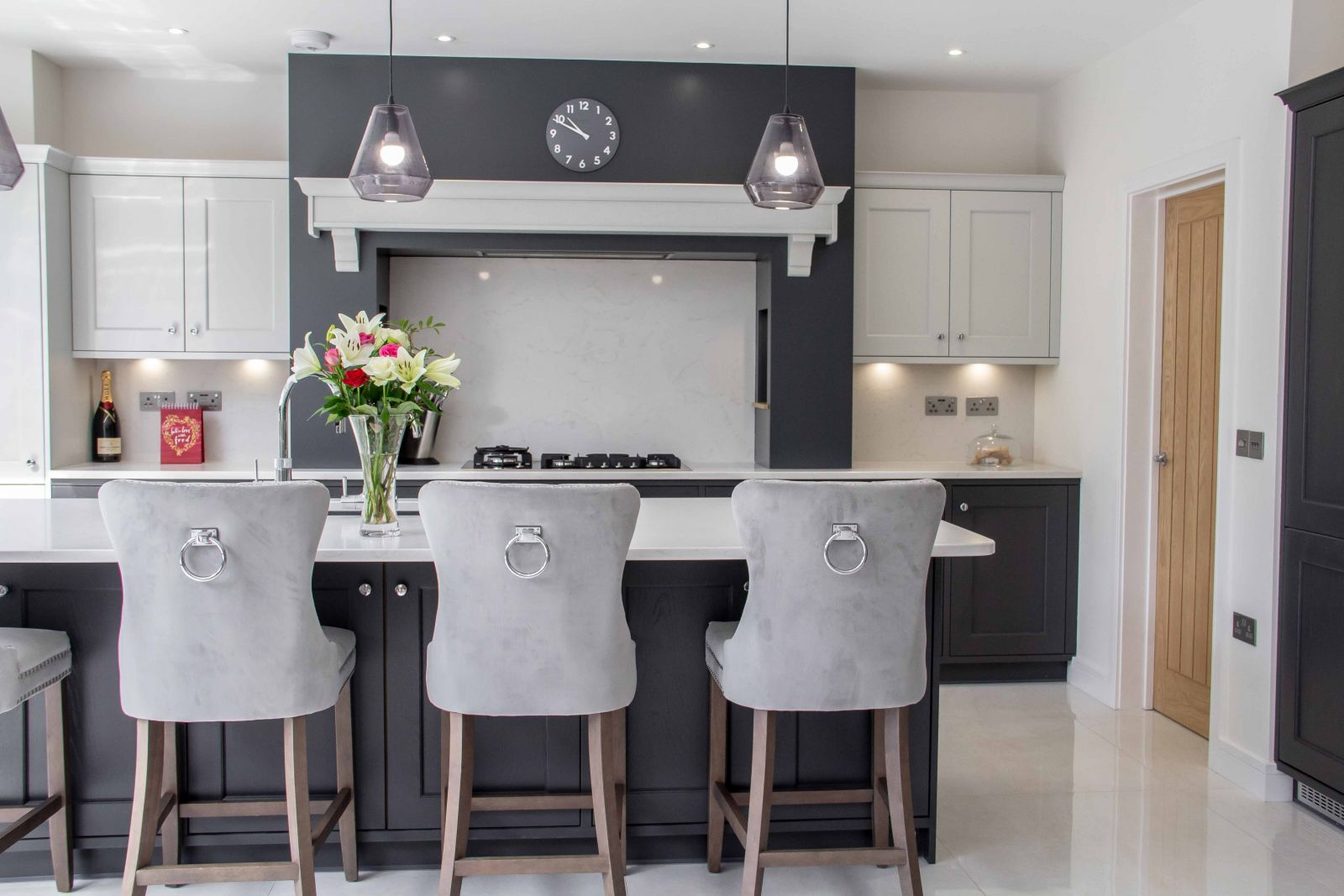 Classic Shaker Kitchen in Grey and White with Breakfast Bar by Sigma 3 Kitchens