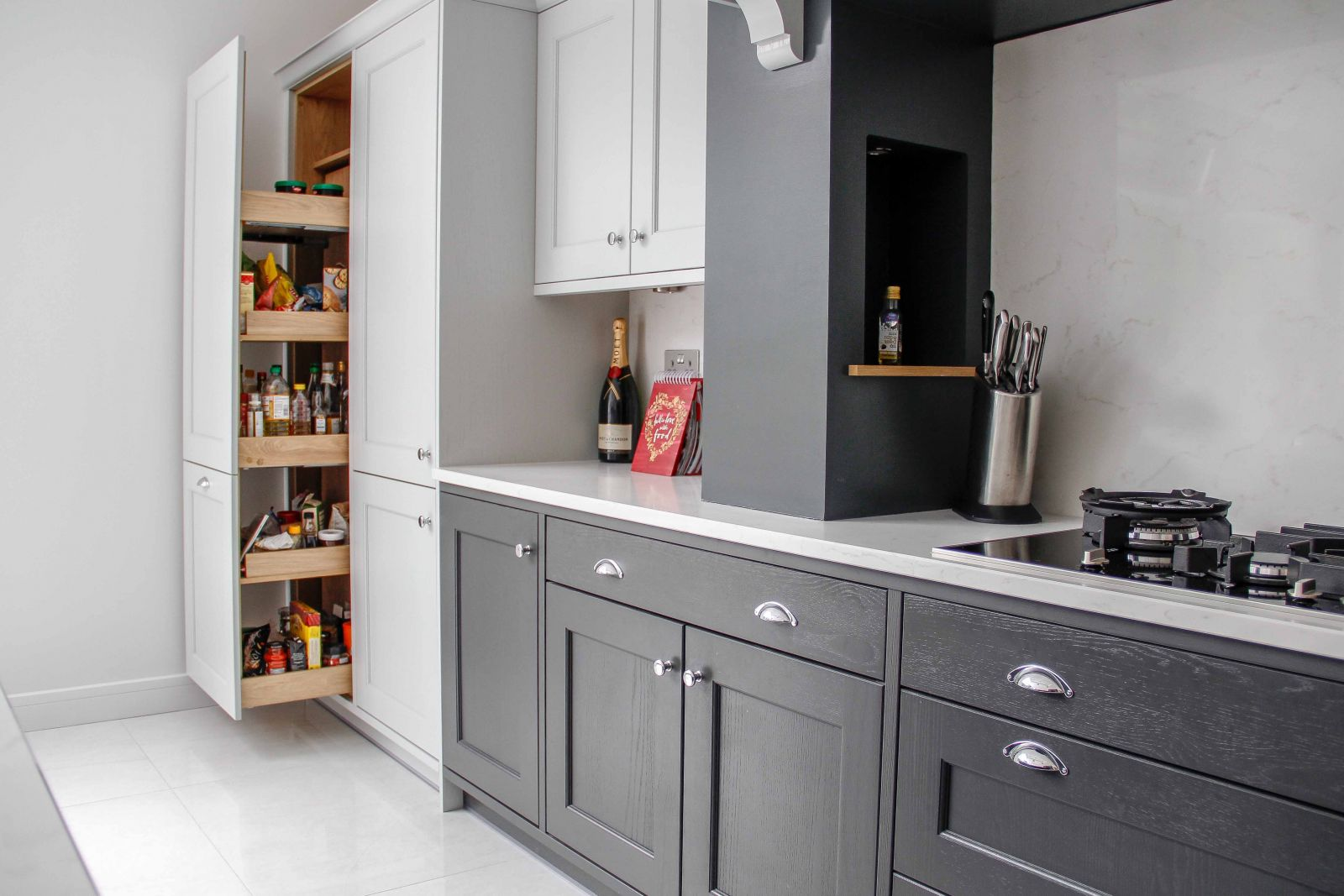 Classic Shaker Kitchen with Pull-Out Magna Space Kitchen Storage by Sigma 3 Kitchens