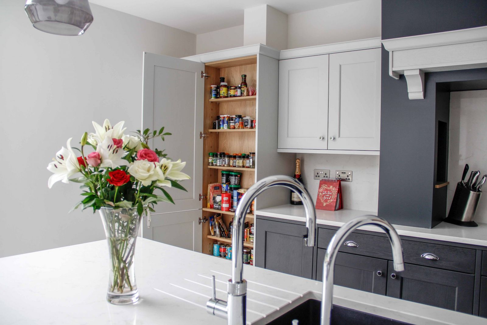 Classic Shaker Kitchen in Grey and White with Kitchen Storage by Sigma 3 Kitchens