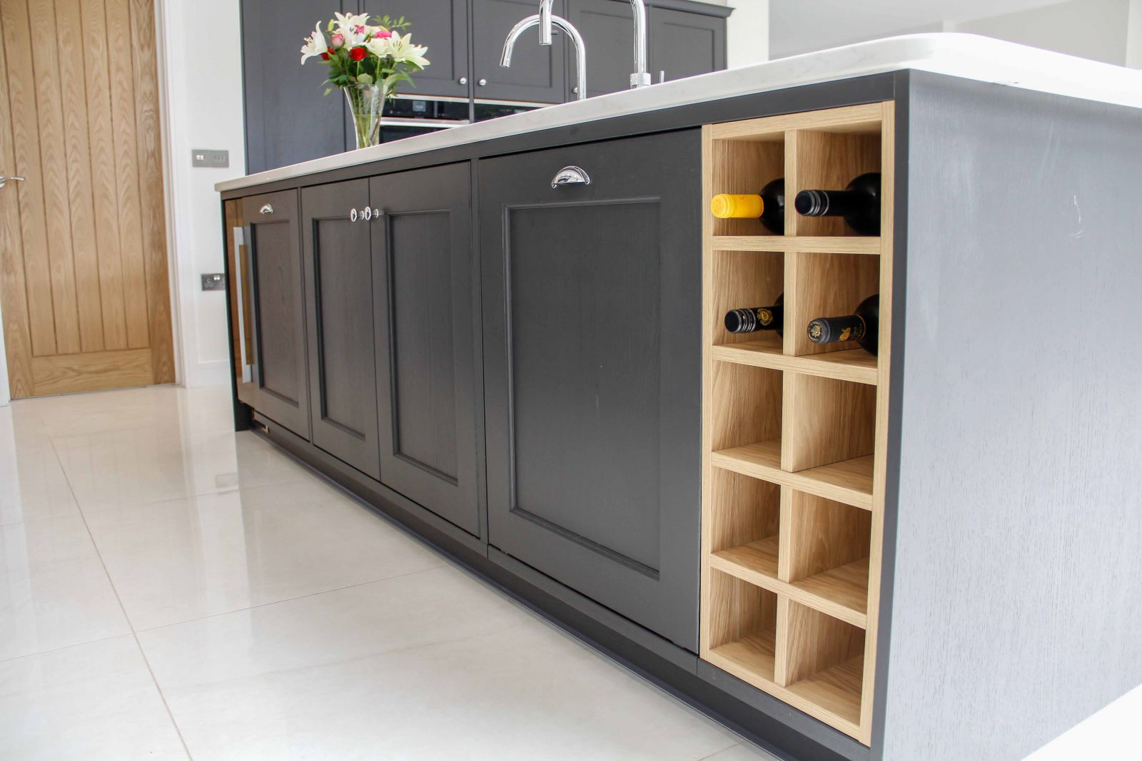 Classic Shaker Kitchen in Grey and White with Wine Rack by Sigma 3 Kitchens
