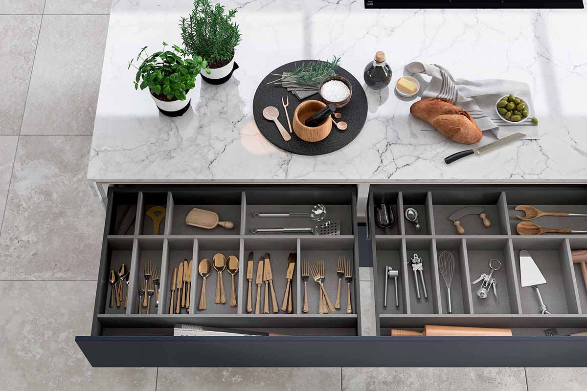 Inkwell Dark Blue Kitchen Cabinets and Culterly Drawer by Sigma 3 Kitchens
