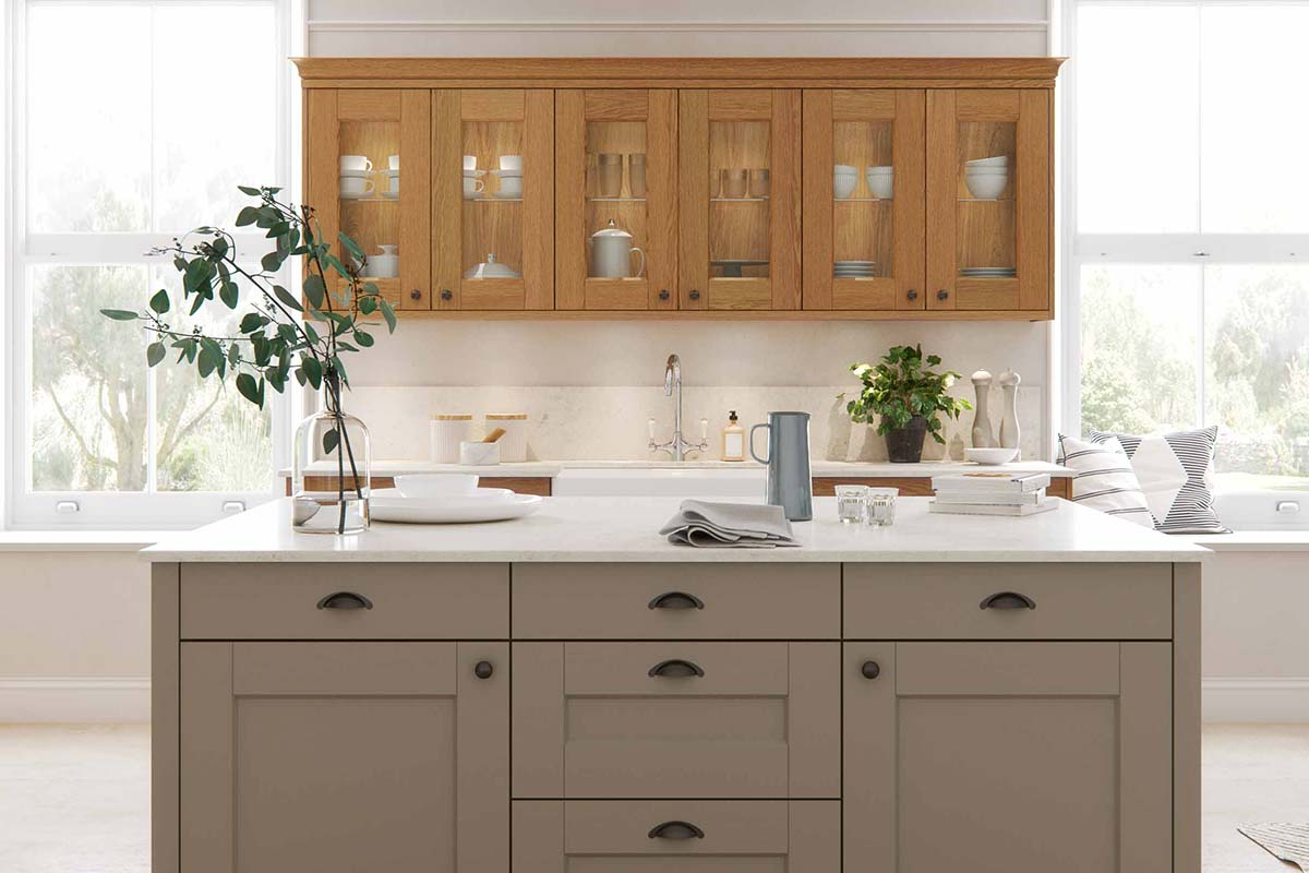 Natural Oak Shaker Kitchen with a Kitchen Island by Sigma 3 kitchens