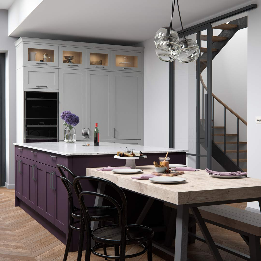 Mulberry and Heritage Grey Kitchen Cabinets by Sigma 3 Kitchens