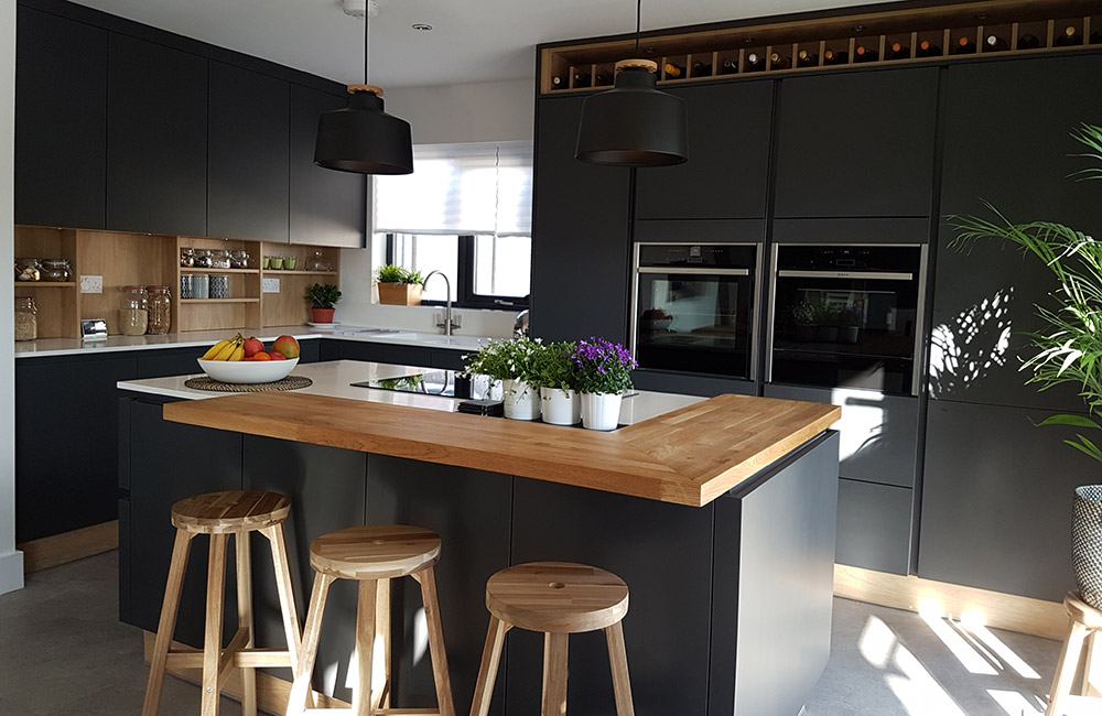 H Line Sutton Graphite With Portland Oak Cabinetry Real Kitchens Stunning Kitchens Designed By Experts Sigma 3