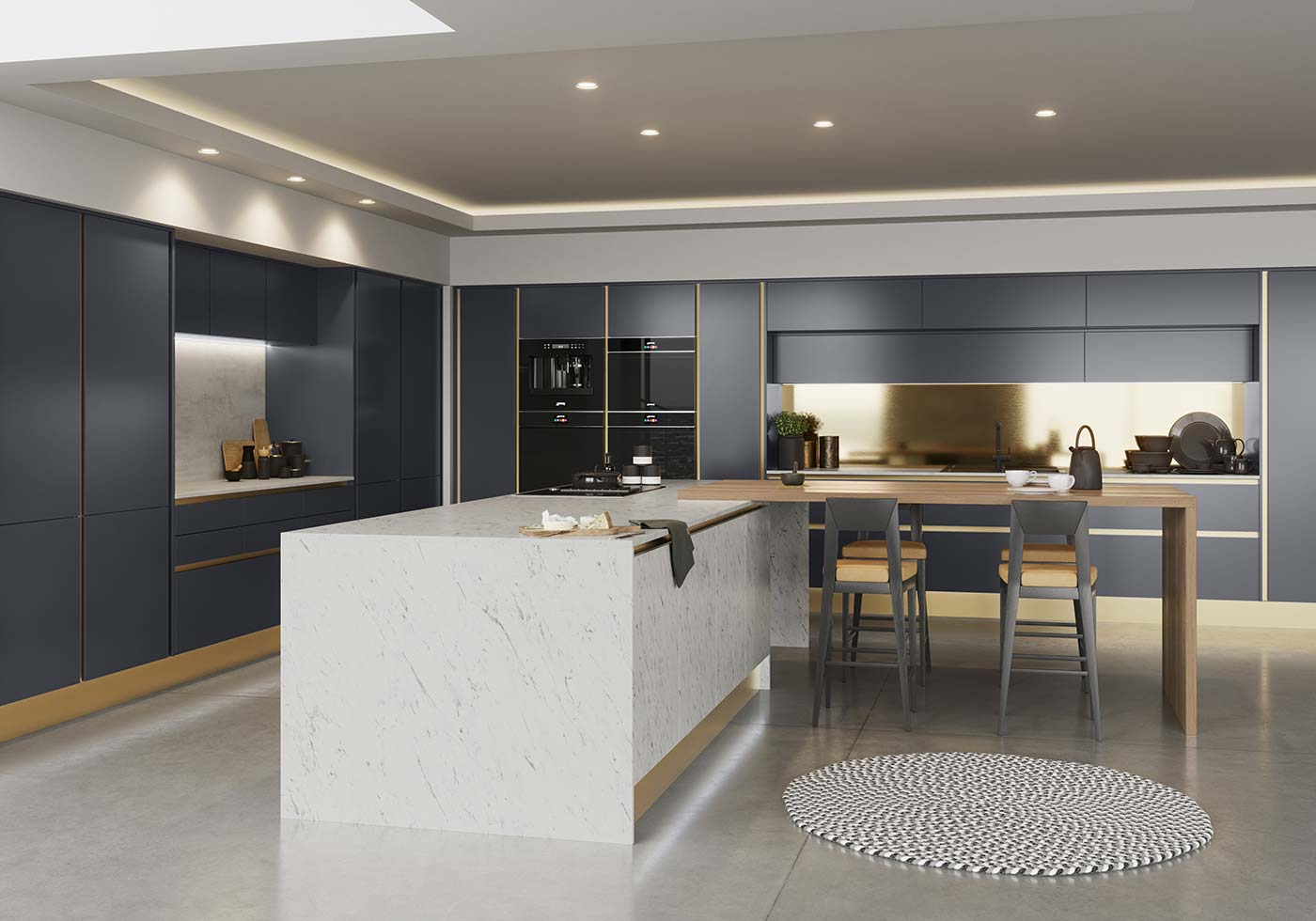 BLue kitchen with brass accents