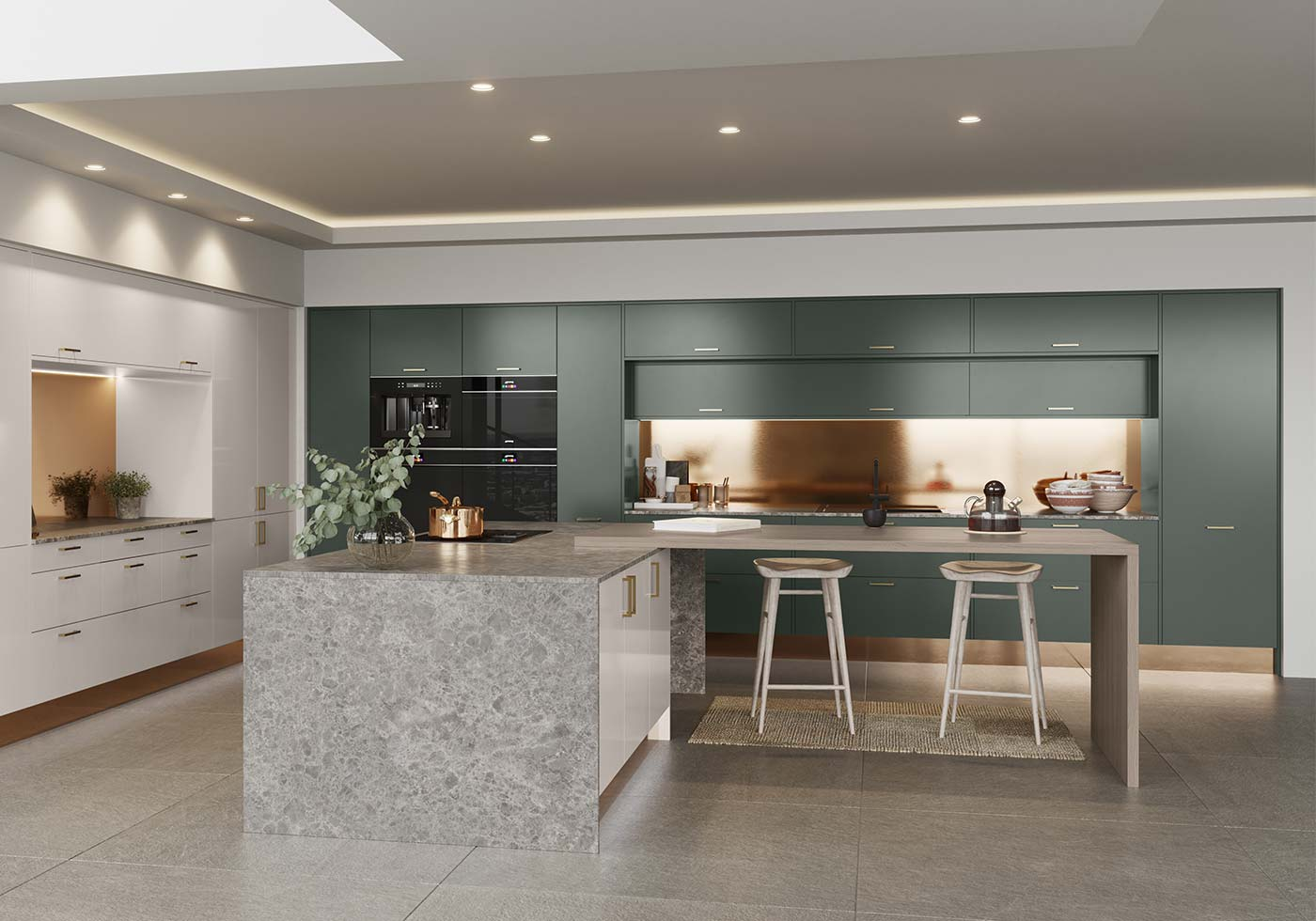 Green modern kitchen with copper accents