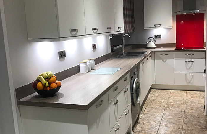 Riva White With Clay Sangha Wenge Worktops Real Kitchens