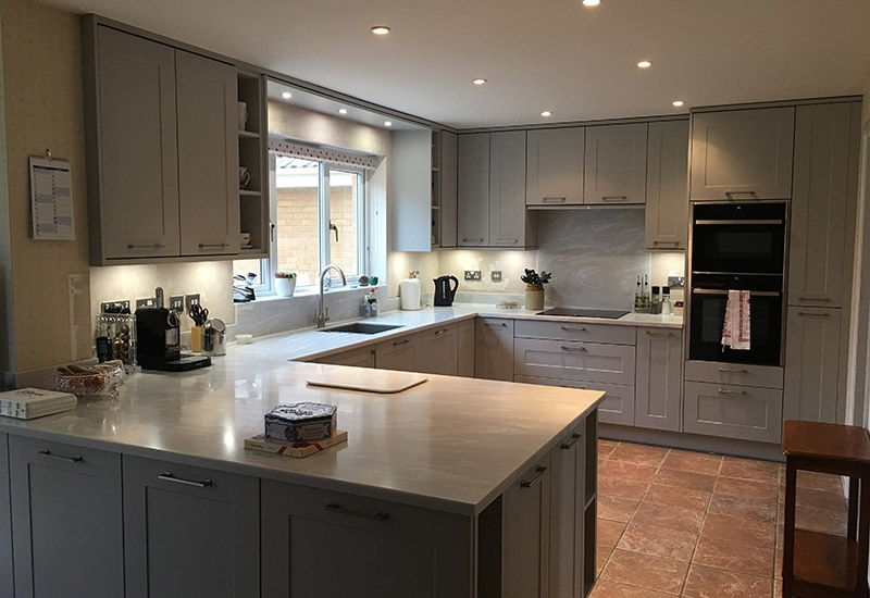 Chatsworth Light Grey with Corian Grey Onyx worktops