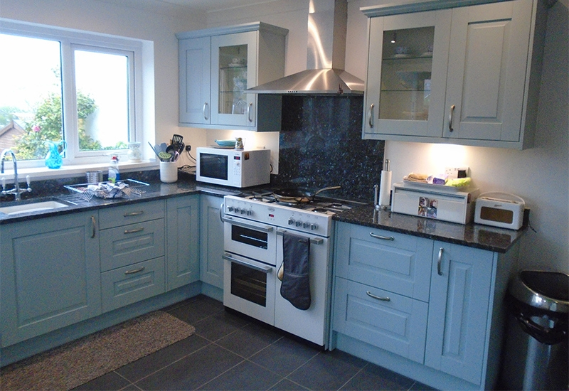Fairmont Powder Blue with Emerald Pearl Granite