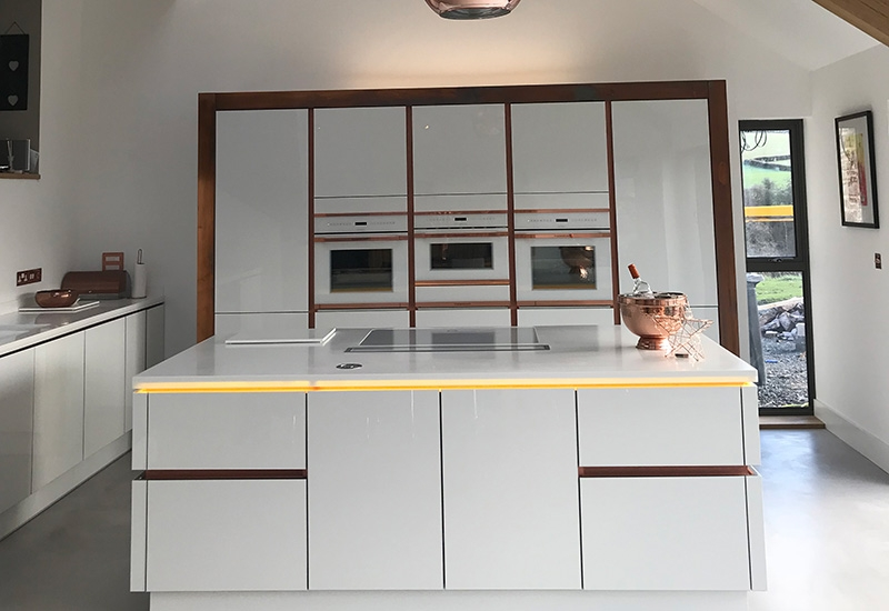 H Line Lumina White with Corian Worktops