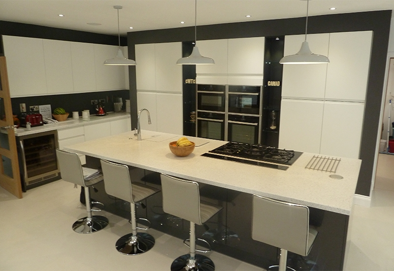 Italia White with Nevada Graphite and SIlver Birch Corian