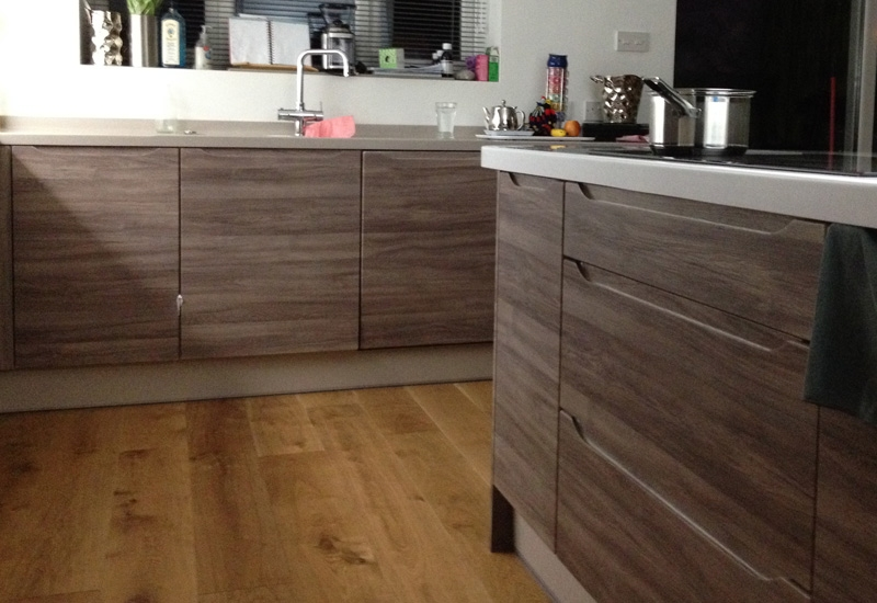 Luna Smoked Oak & Heritage Grey With Corian Worktops