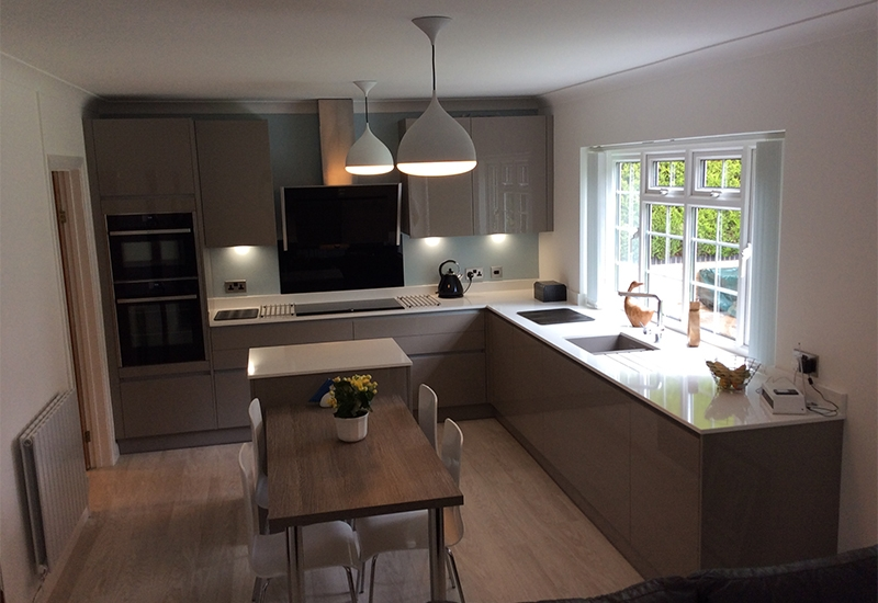 Lumina Stone Grey H Line with Clay Sangha Wenge worktops