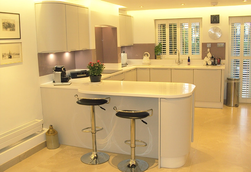 Luna Light Grey with Corian Antartica worktops