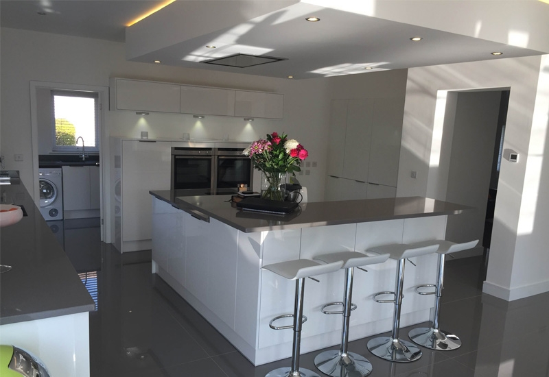 Mistral White Gloss with Corian Worktops