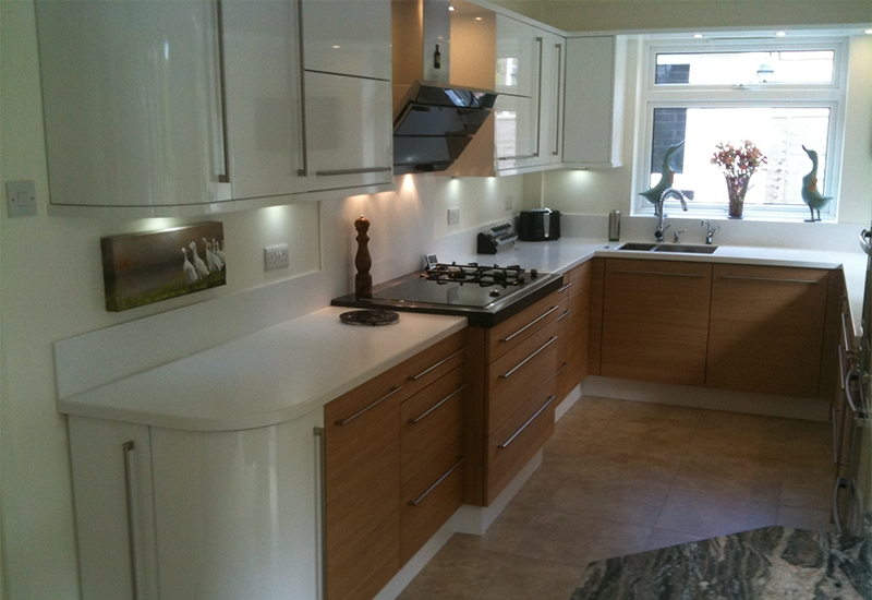 Nevada White and Centro Light Oak with Q Stone worktops