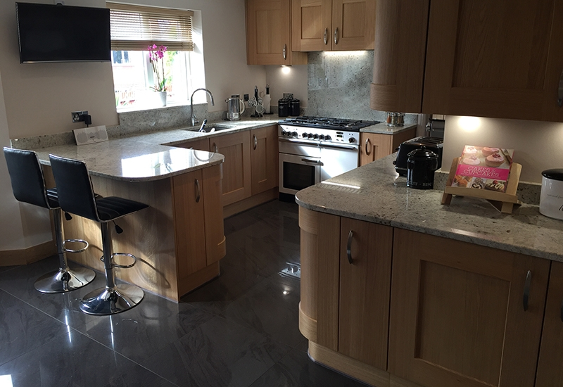 Solva Light Oak with Crystal White Granite worktops