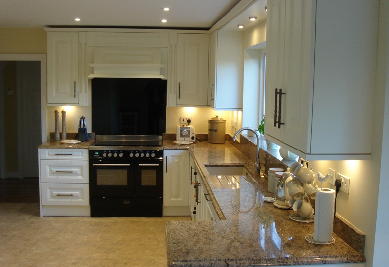 Howarth Ivory With Giallo Veneziana Granite Worktops