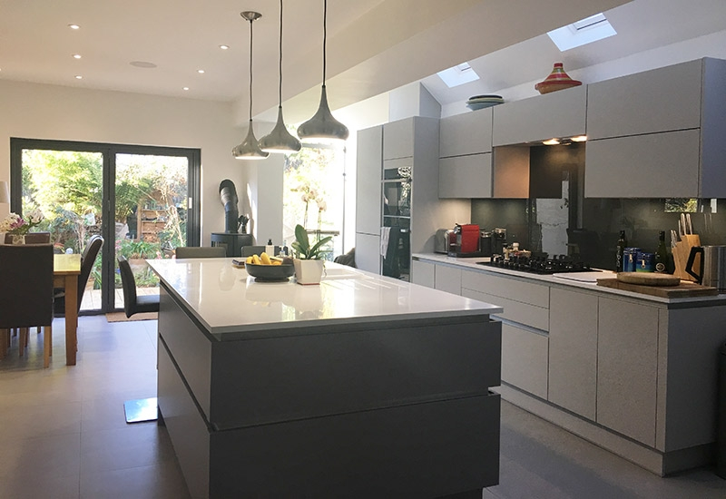 H Line Sutton Dust Grey with Light Grey and Corian worktops