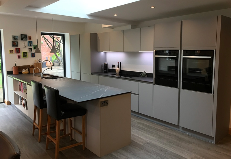 H Line Sutton Light Grey with Dust Grey and Dekton Kelya