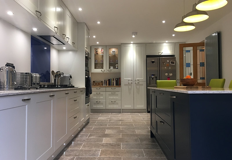 Marlborough Scots Grey and Oxford Blue with Arctic Storm worktops
