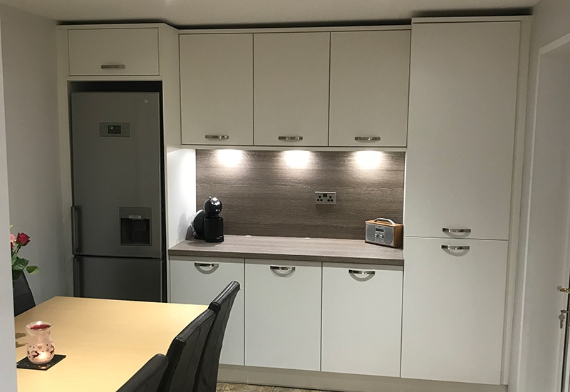 Riva White with Clay Sangha Wenge worktops