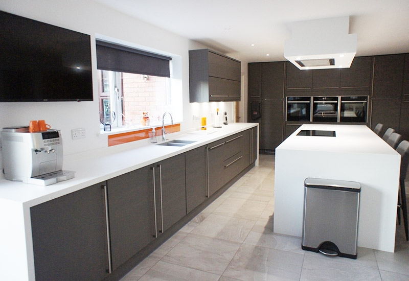 Reno Truffle Open Grained with Glacier White Corian Worktops