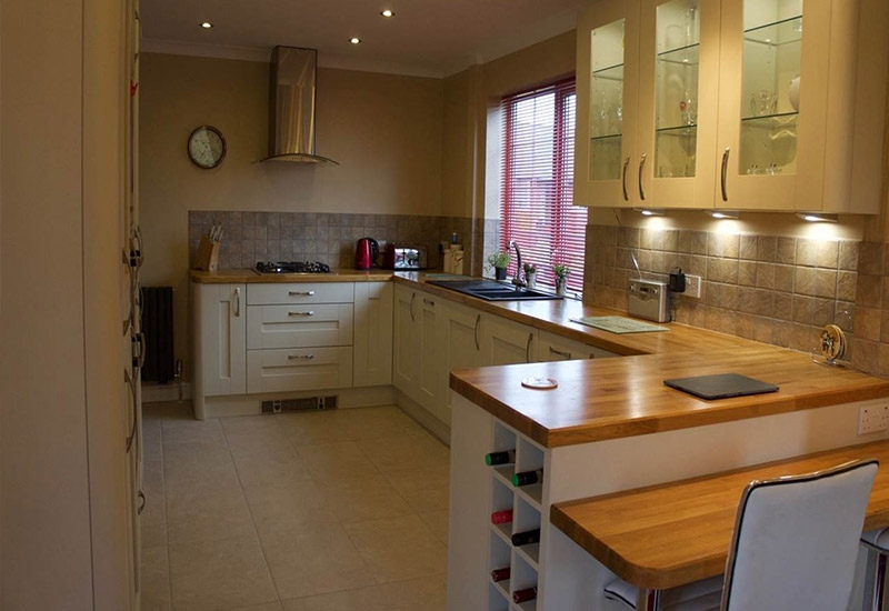 Westbury Mussel with Solid Oak Worktops